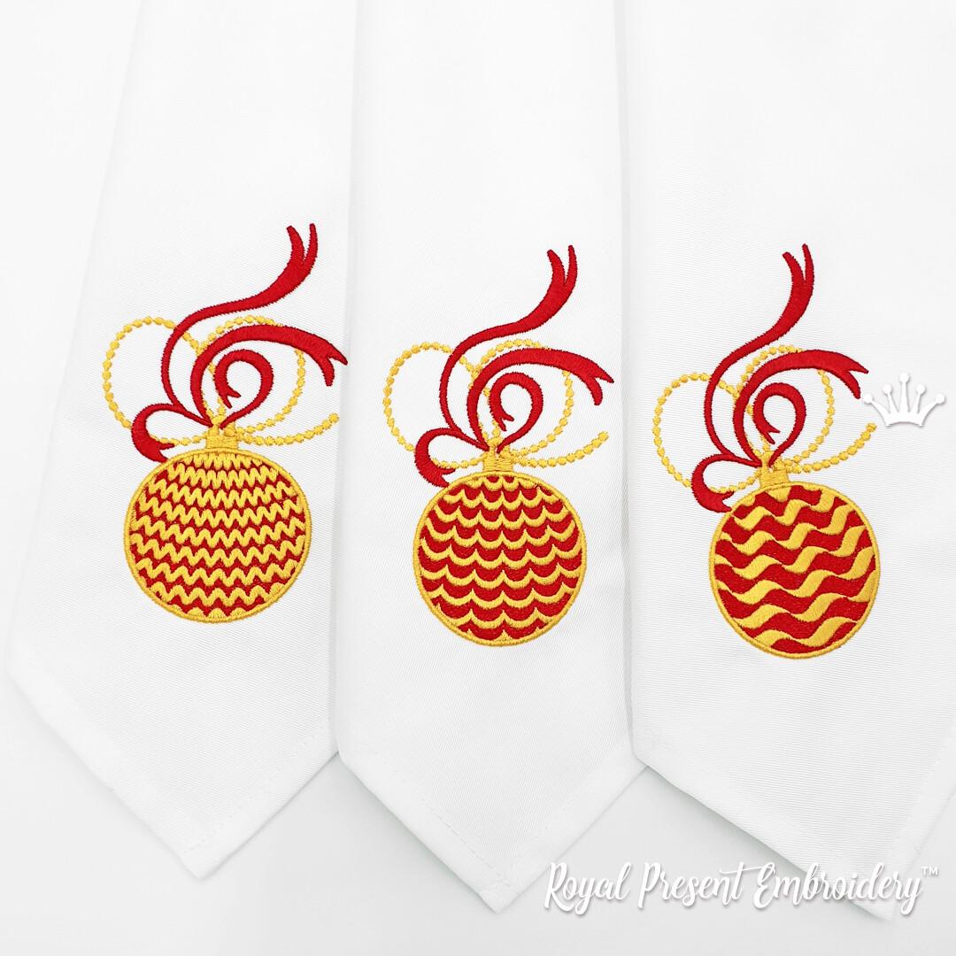 Три Новогодних Шарика Набор Дизайнов Машинной Вышивки