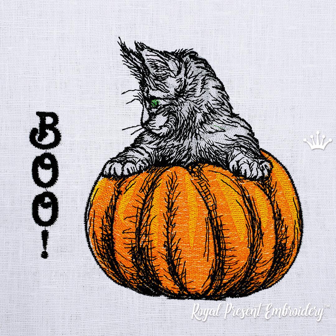 Котенок на тыкве дизайн машинной вышивки - 3 размера