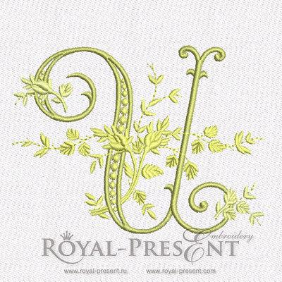 Дизайн машинной вышивки - Монограмма винтажная буква U