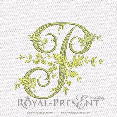 Дизайн машинной вышивки Монограмма винтажная буква P