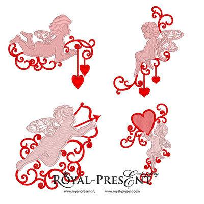 4 дизайна машинной вышивки Купидоны с сердечками