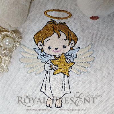 Схема для машинной вышивки Рождественский Ангел со звездой - 3 размера