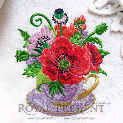 Дизайн машинной вышивки Маки в чашке