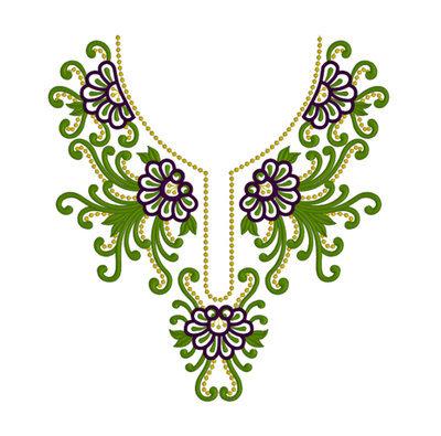 Дизайн для машинной вышивки - Горловина с зеленым