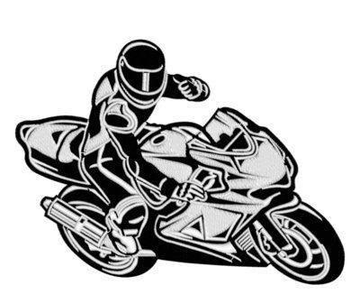 Дизайн машинной вышивки Мотоциклист - 2 размера