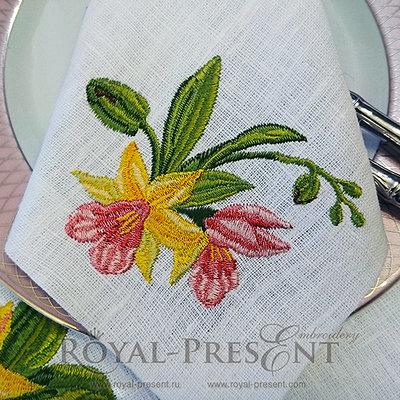 Дизайн машинной вышивки Букетик орхидей