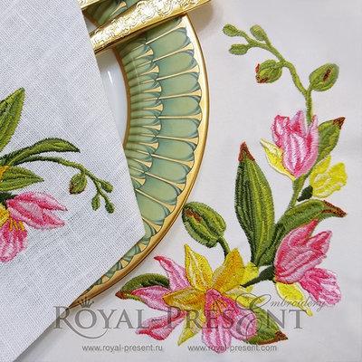 Дизайн машинной вышивки Тропические орхидеи