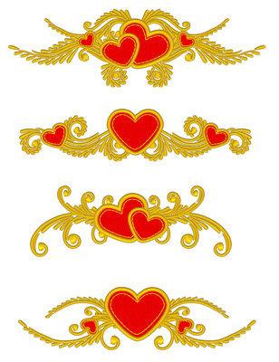 Дизайны машинной вышивки Сердечки