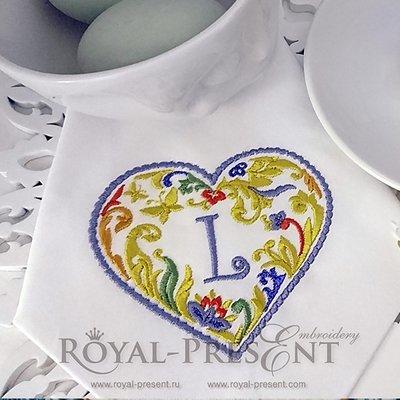 Дизайн машинной вышивки Сердечко для монограммы - 2 размера