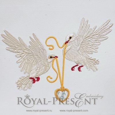 Дизайн машинной вышивки Свадебные голубки