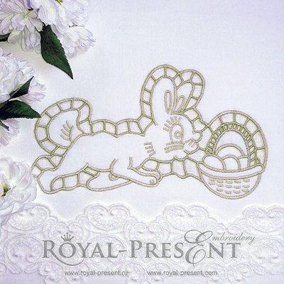 Дизайн машинной вышивки Пасхальный Кролик ришелье - 3 размера