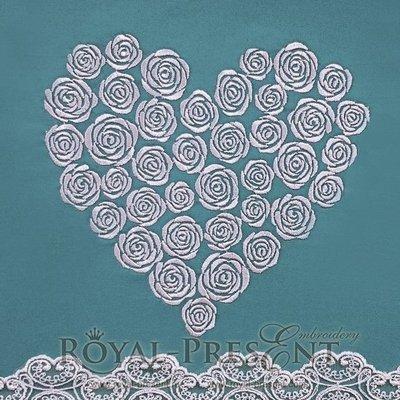 Дизайн для машинной вышивки Сердце из роз - 4 размера