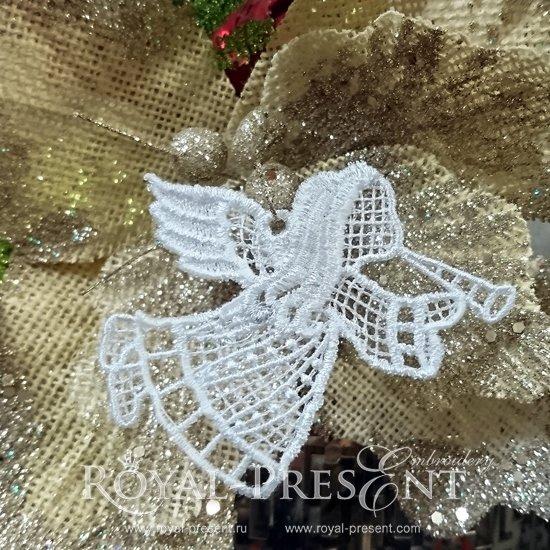 Дизайн новогодней машинной вышивки Кружевной Ангел