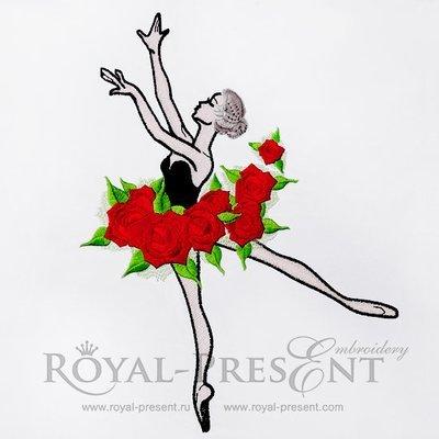 Дизайн машинной вышивки Балерина с розами - 3 размера