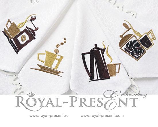 Набор дизайнов для машинной вышивки Кофейный сет