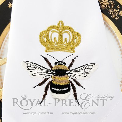 Дизайн машинной вышивки Пчела с короной
