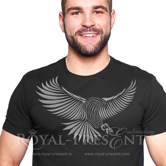 Дизайн для машинной вышивки Серый орел - 3 размера