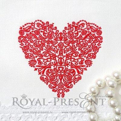 Дизайн машинной вышивки Красное кружевное Сердце - 2 размера