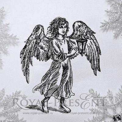 Дизайн машинной вышивки Ангел с фонариком