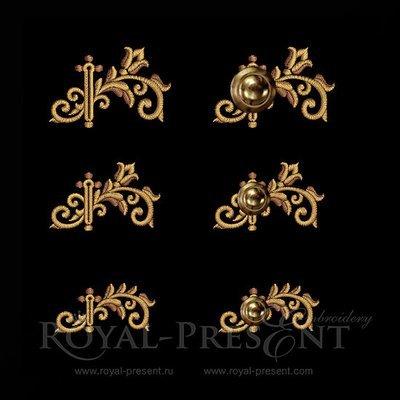 Дизайны вышивки Прорезь для пуговиц барокко
