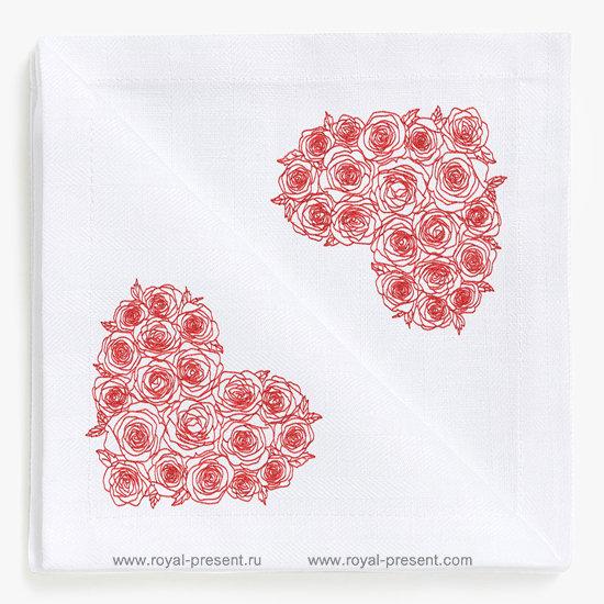Дизайн для машинной вышивки Сердце из роз - 6 размеров