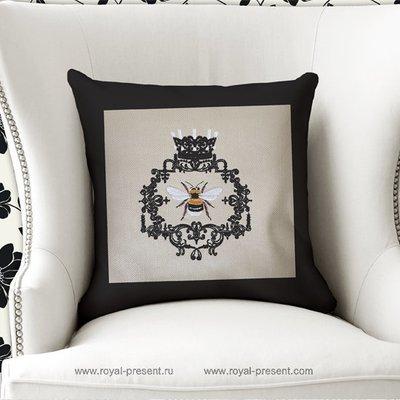 Дизайн машинной вышивки Винтажная Рамка с пчелой
