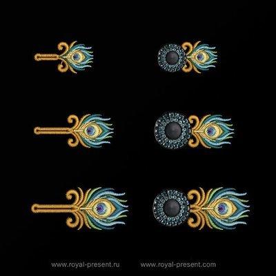 Дизайны машинной вышивки Пуговичные Петли Павлин
