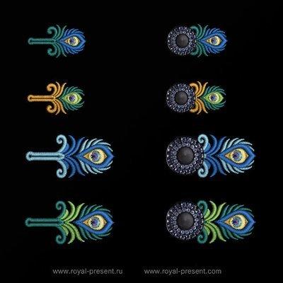 Дизайны машинной вышивки Прорези Павлин