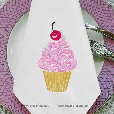 Дизайн машинной вышивки Орнаментальный кекс с вишенкой