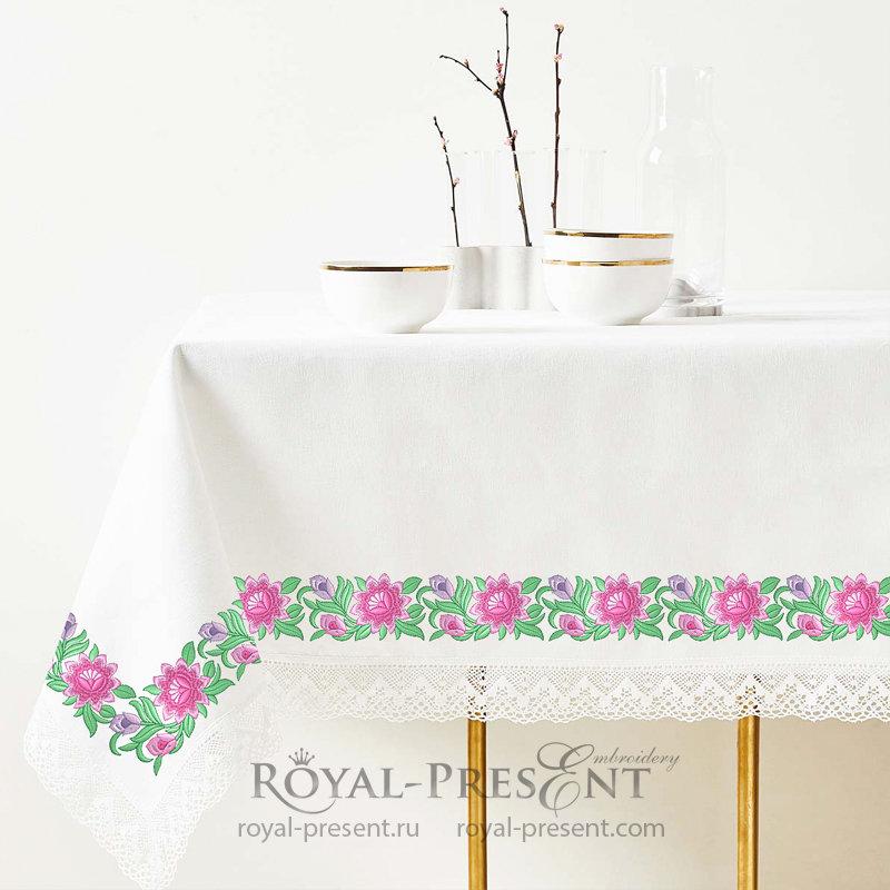 Дизайн машинной вышивки Элемент растительного бордюра с розовыми цветами