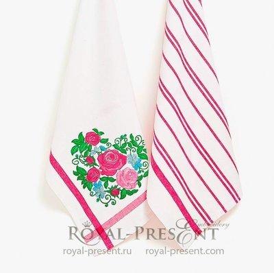 Сердце из роз Дизайн машинной вышивки - 4 размера
