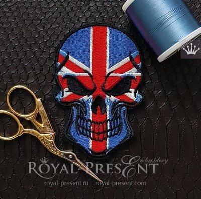 Дизайн машинной вышивки Череп Флаг Великобритании