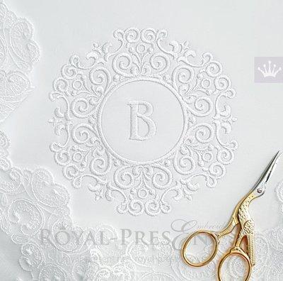 Маленькая свадебная рамка Дизайн машинной вышивки - 2 размера