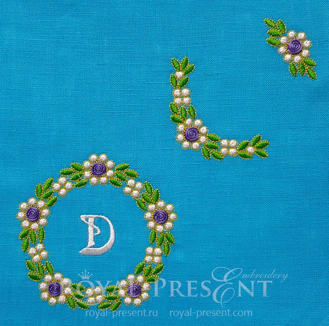 Три дизайна машинной вышивки Изумрудные цветы