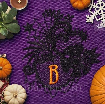 Кружевной Дизайн машинной вышивки Хеллоуин - 4 размера