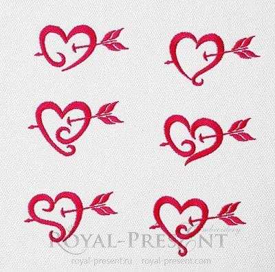 Набор дизайнов машинной вышивки Алые сердечки