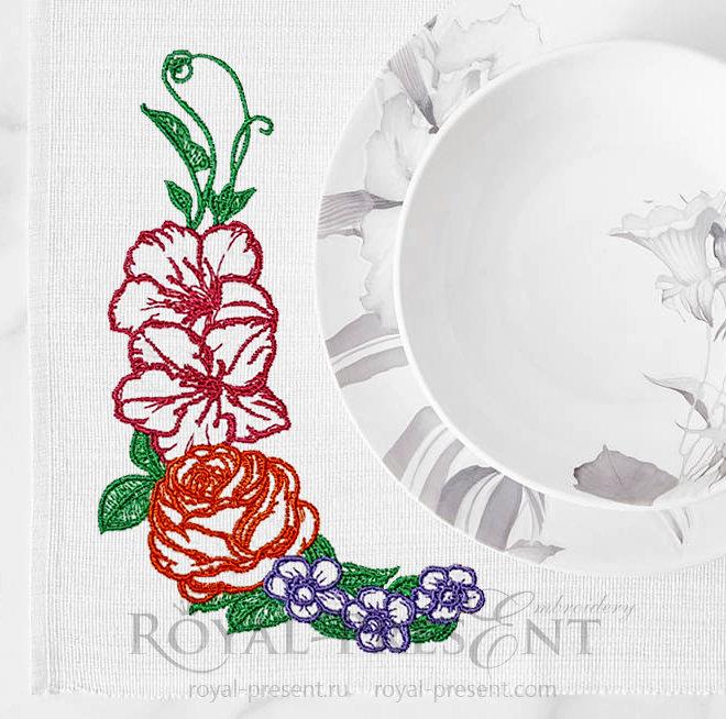Бесплатный дизайн машинной вышивки Садовые Цветы - 2 размера