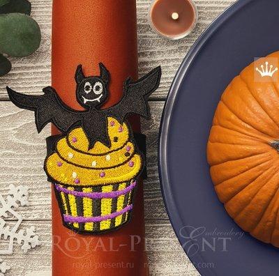 Дизайн машинной вышивки Кекс Хэллоуин Летучая Мышь - 3 размера