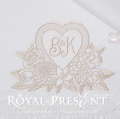 Дизайн машинной вышивки Рамка Сердце с цветами - 3 размера