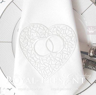 Дизайн машинной вышивки Обручальные кольца в сердце - 2 размера