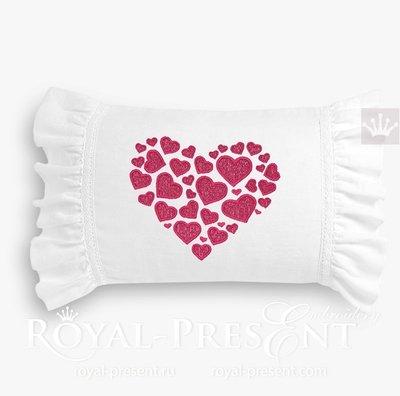 Дизайн вышивки Сердце из сердечек - 3 размера