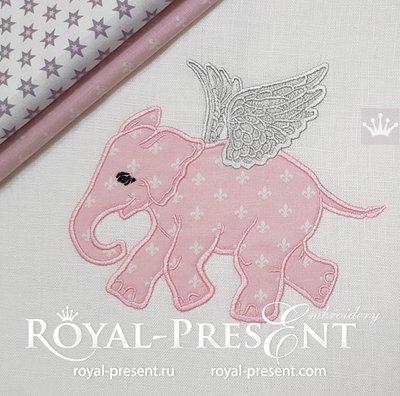 Аппликация для машинной вышивки Слоненок с крыльями - 5 размеров