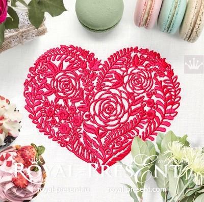 Дизайн машинной вышивки Цветочное Сердце - 5 размеров