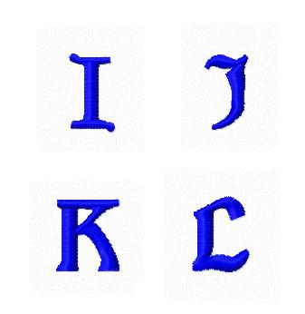 Дизайны вышивки Заглавные Мини буквы I J K L