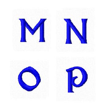 Дизайны вышивки Заглавные Мини буквы M N O P