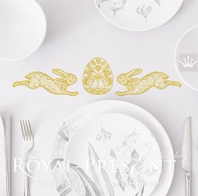 Пасхальный Кролик с яйцом Дизайн вышивки - 3 размера