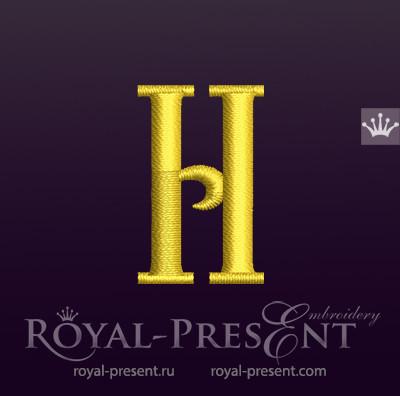 Дизайн машинной вышивки Заглавная буква H вариант 2