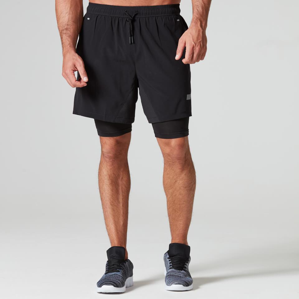 Pantalon Corto Deportivo Dual - S - Negro
