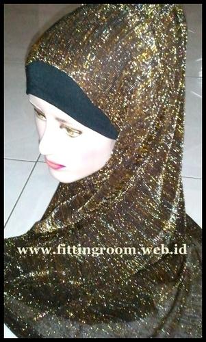 Jilbab Pashmina Glitter Coklat Tua Gold