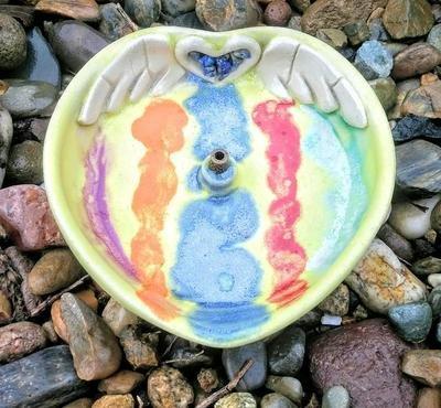 Multi Colored Ceramic Angel Heart Incense Stick Holder